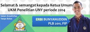 Selamat :D kepada mas Erbi yang telah terpilih sebagai kuetua UKM Penelitian 2014